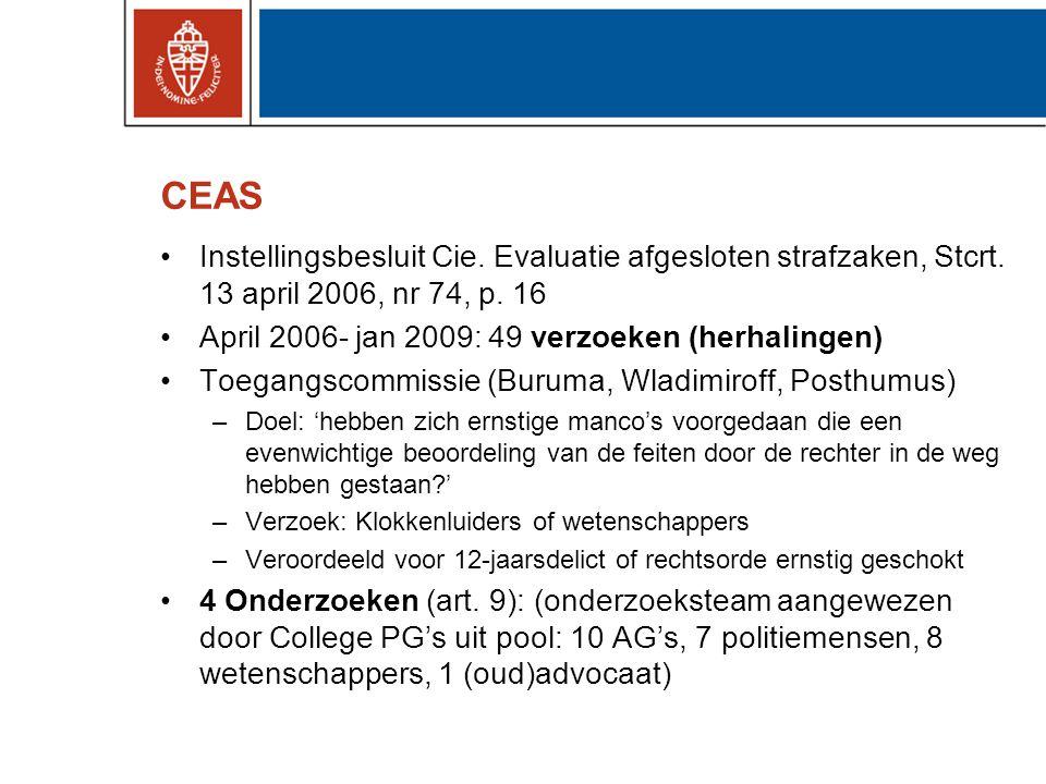 CEAS •Instellingsbesluit Cie. Evaluatie afgesloten strafzaken, Stcrt. 13 april 2006, nr 74, p. 16 •April 2006- jan 2009: 49 verzoeken (herhalingen) •T
