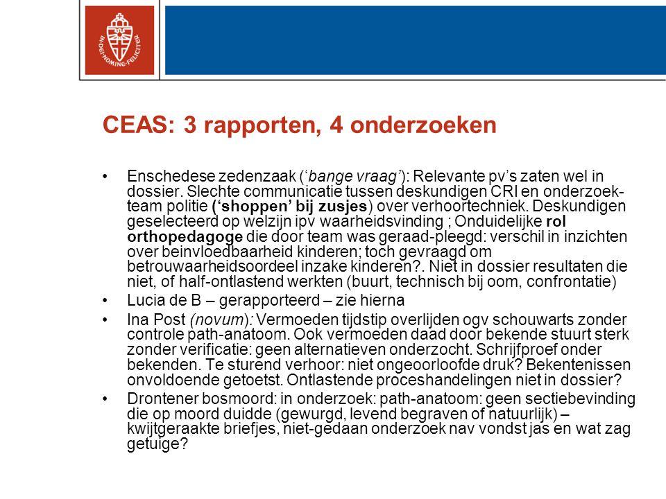 CEAS: 3 rapporten, 4 onderzoeken •Enschedese zedenzaak ('bange vraag'): Relevante pv's zaten wel in dossier. Slechte communicatie tussen deskundigen C