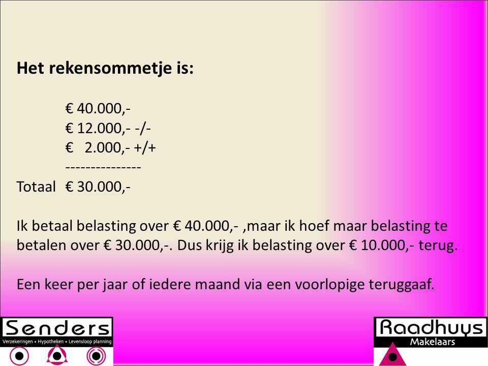 Het rekensommetje is: € 40.000,- € 12.000,- -/- € 2.000,- +/+ --------------- Totaal€ 30.000,- Ik betaal belasting over € 40.000,-,maar ik hoef maar belasting te betalen over € 30.000,-.