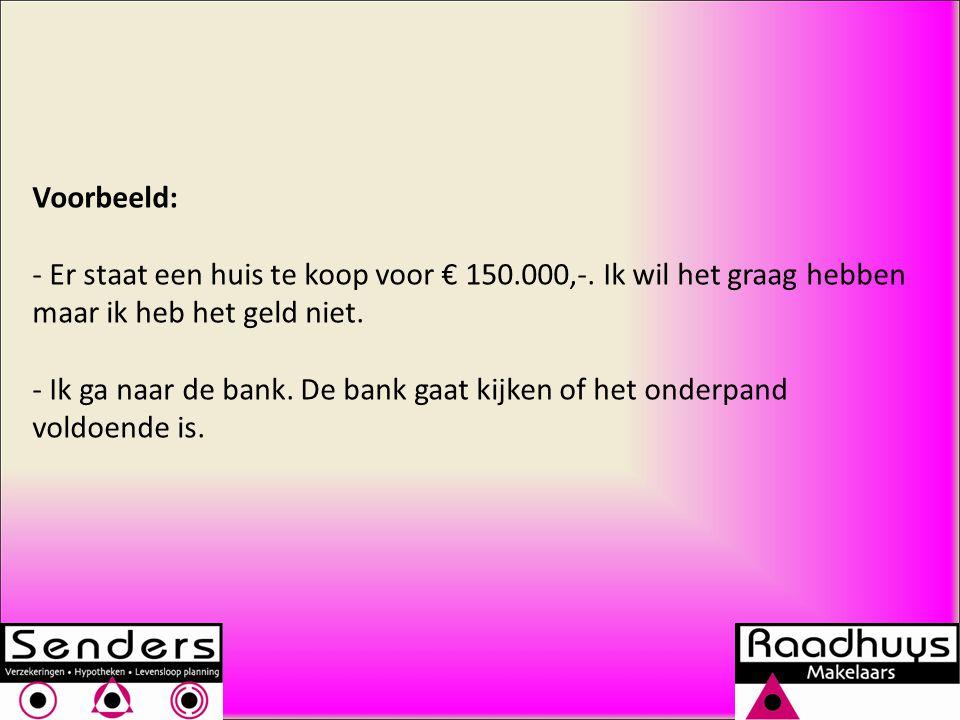 Voorbeeld: - Er staat een huis te koop voor € 150.000,-.