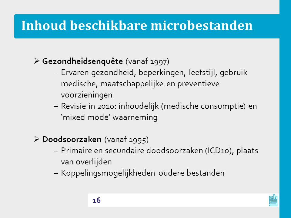 Inhoud beschikbare microbestanden  Gezondheidsenquête (vanaf 1997) –Ervaren gezondheid, beperkingen, leefstijl, gebruik medische, maatschappelijke en