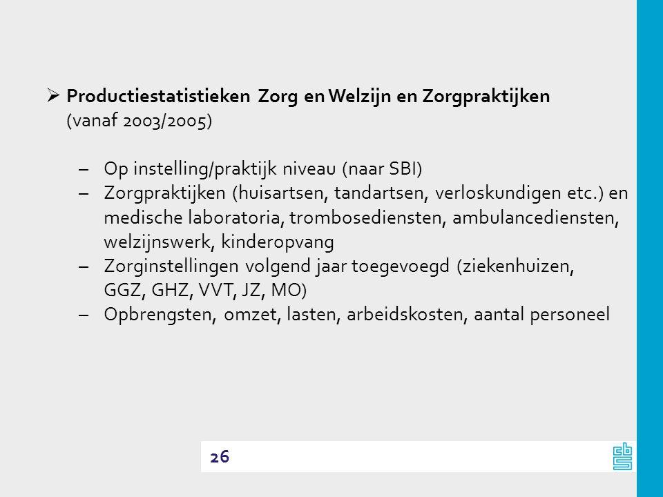 26  Productiestatistieken Zorg en Welzijn en Zorgpraktijken (vanaf 2003/2005) –Op instelling/praktijk niveau (naar SBI) –Zorgpraktijken (huisartsen,