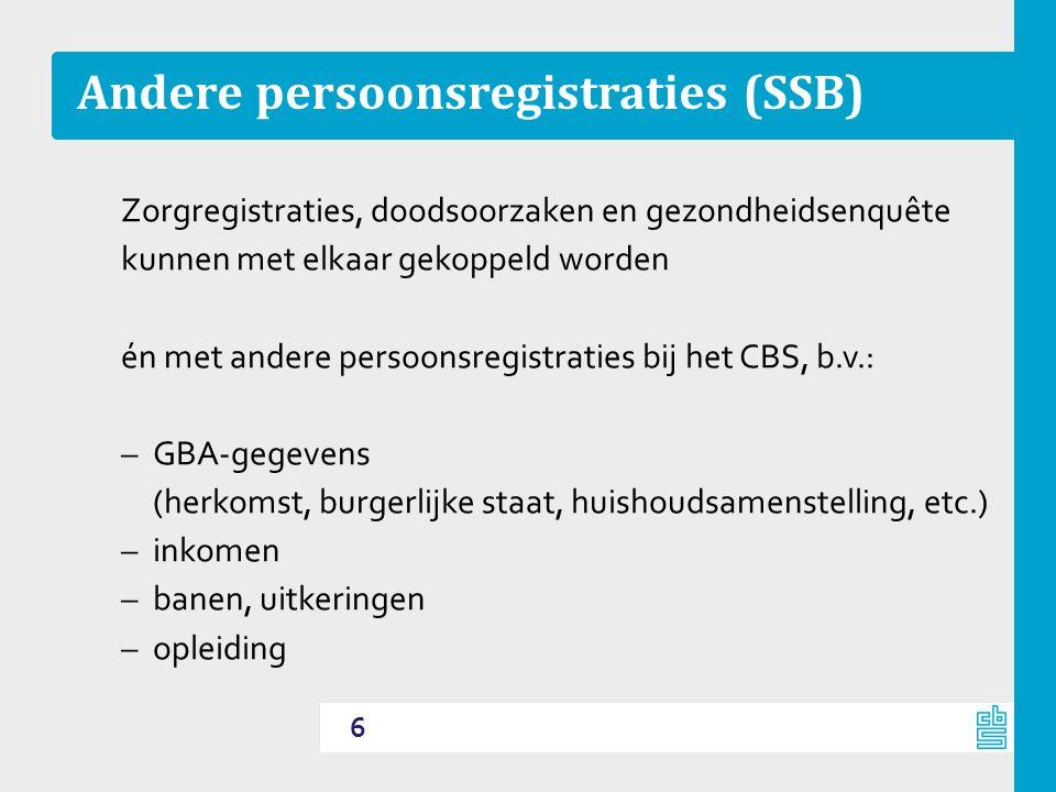 Andere persoonsregistraties (SSB) Zorgregistraties, doodsoorzaken en gezondheidsenquête kunnen met elkaar gekoppeld worden én met andere persoonsregis