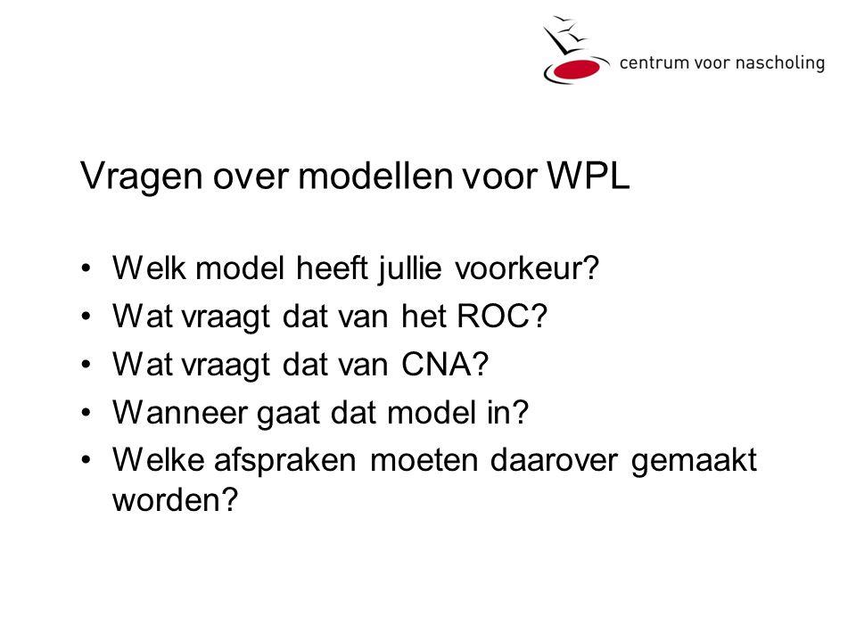 Vragen over modellen voor WPL •Welk model heeft jullie voorkeur.