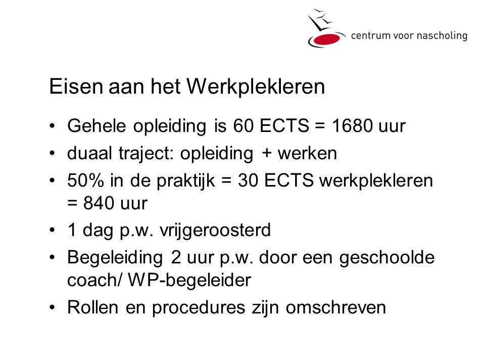 Eisen aan het Werkplekleren •Gehele opleiding is 60 ECTS = 1680 uur •duaal traject: opleiding + werken •50% in de praktijk = 30 ECTS werkplekleren = 840 uur •1 dag p.w.