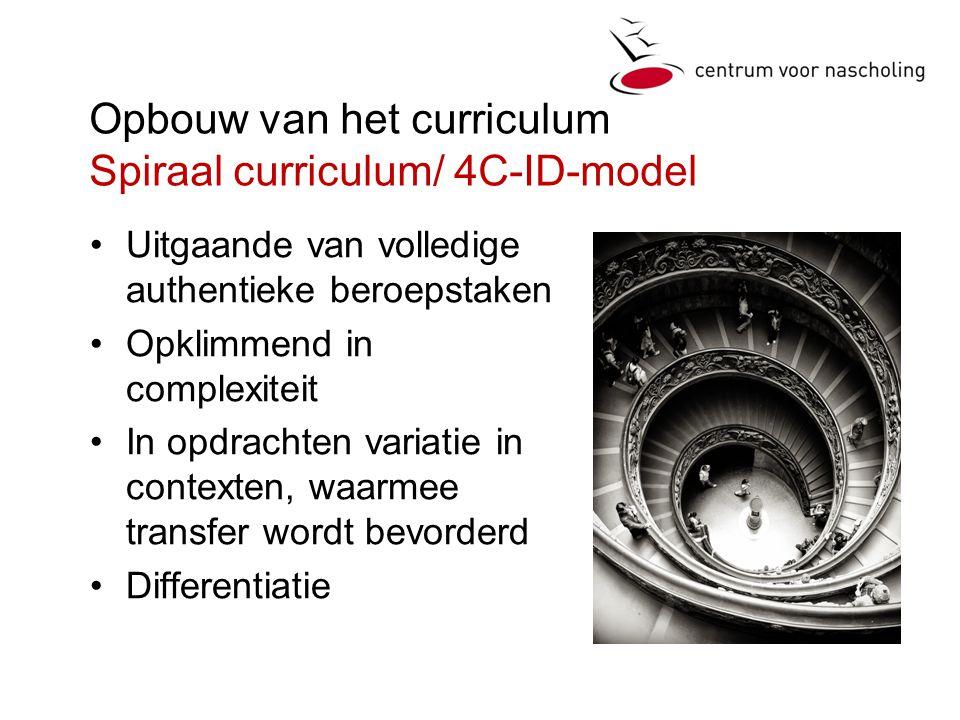 Opbouw van het curriculum Spiraal curriculum/ 4C-ID-model •Uitgaande van volledige authentieke beroepstaken •Opklimmend in complexiteit •In opdrachten variatie in contexten, waarmee transfer wordt bevorderd •Differentiatie