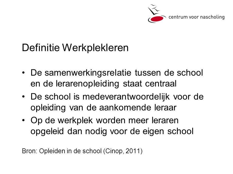 Definitie Werkplekleren •De samenwerkingsrelatie tussen de school en de lerarenopleiding staat centraal •De school is medeverantwoordelijk voor de opl