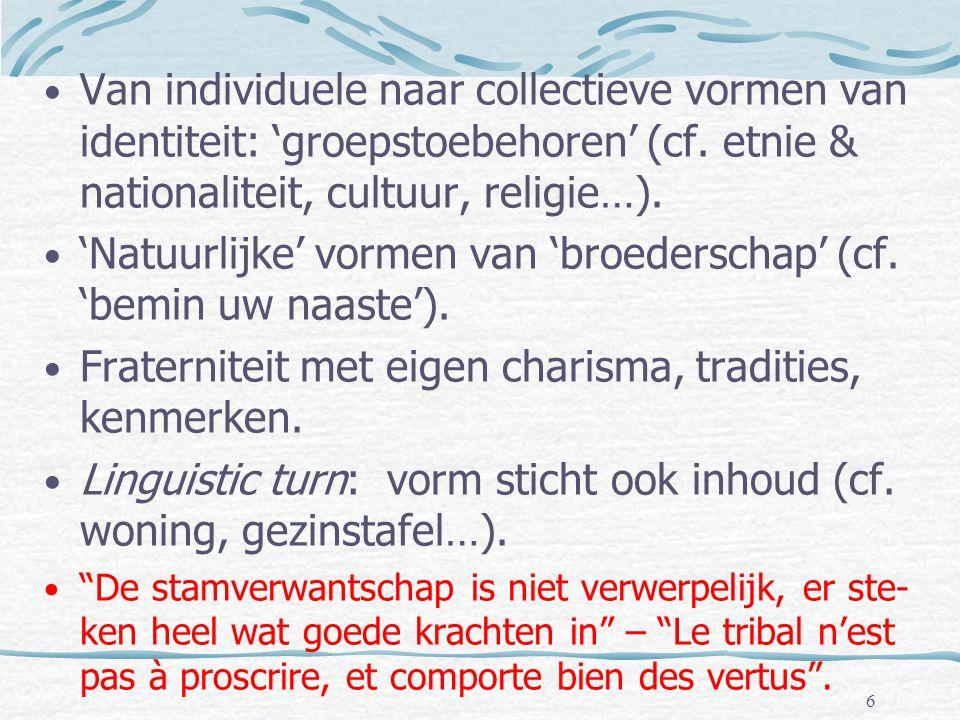 • Van individuele naar collectieve vormen van identiteit: 'groepstoebehoren' (cf. etnie & nationaliteit, cultuur, religie…). • 'Natuurlijke' vormen va