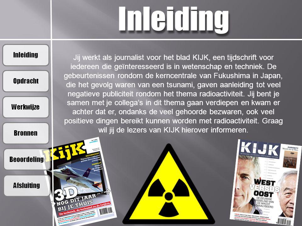 Inleiding Opdracht Werkwijze Bronnen Beoordeling Afsluiting Inleiding Jij werkt als journalist voor het blad KIJK, een tijdschrift voor iedereen die g