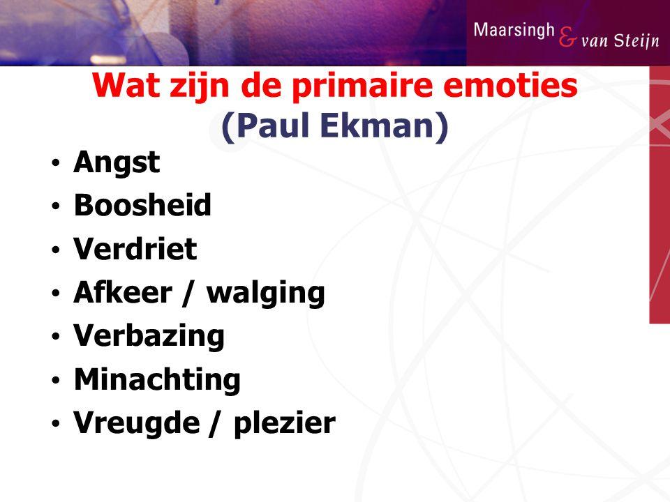 Wat zijn de primaire emoties (Paul Ekman) • Angst • Boosheid • Verdriet • Afkeer / walging • Verbazing • Minachting • Vreugde / plezier