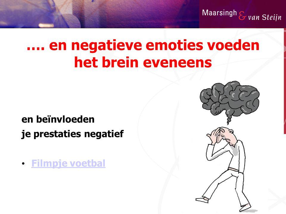 …. en negatieve emoties voeden het brein eveneens en beïnvloeden je prestaties negatief • Filmpje voetbal Filmpje voetbal