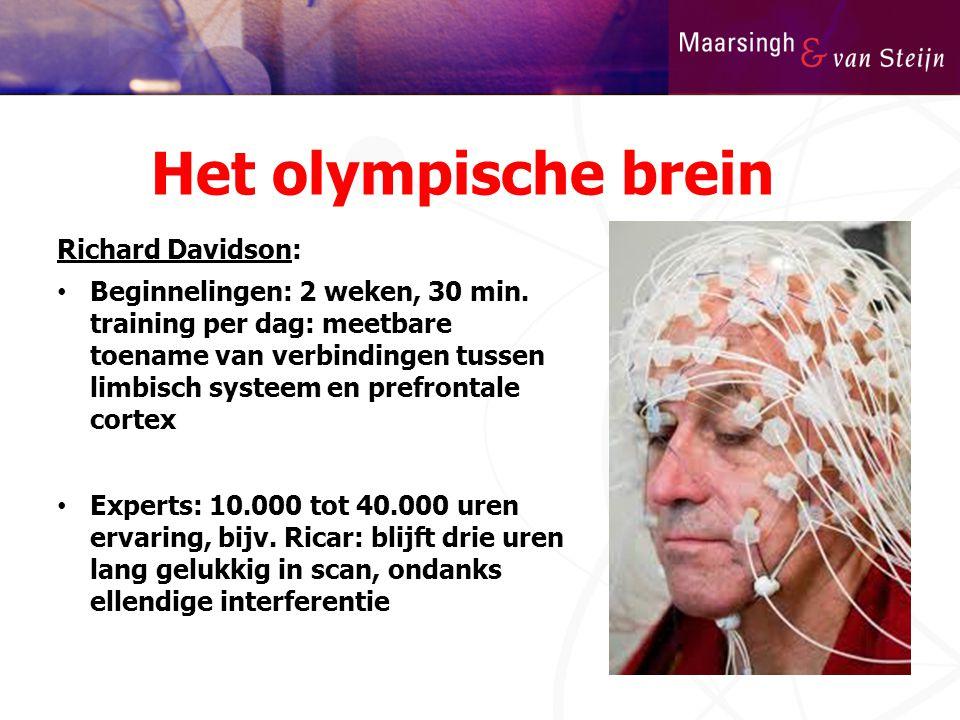 Het olympische brein Richard Davidson: • Beginnelingen: 2 weken, 30 min. training per dag: meetbare toename van verbindingen tussen limbisch systeem e
