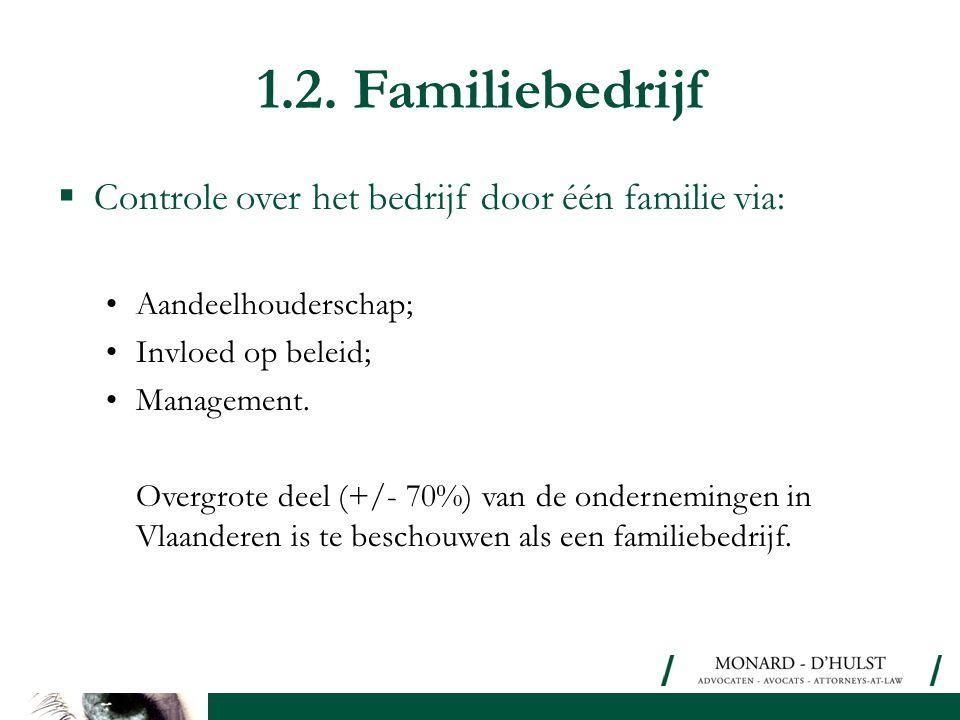 1.2. Familiebedrijf  Controle over het bedrijf door één familie via: •Aandeelhouderschap; •Invloed op beleid; •Management. Overgrote deel (+/- 70%) v