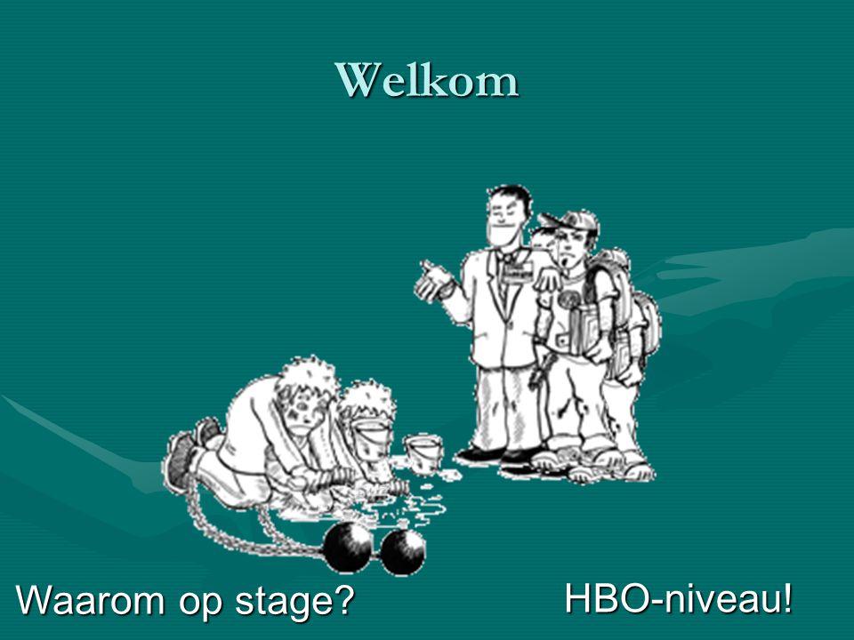 Welkom Waarom op stage? HBO-niveau!