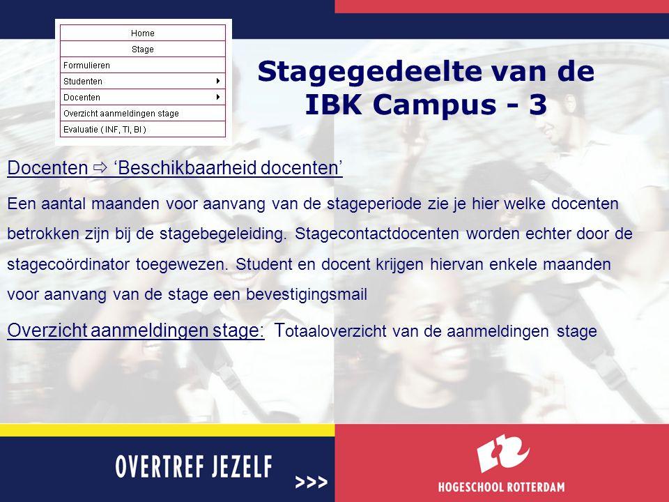 Stagegedeelte van de IBK Campus - 3 Docenten  'Beschikbaarheid docenten' Een aantal maanden voor aanvang van de stageperiode zie je hier welke docent