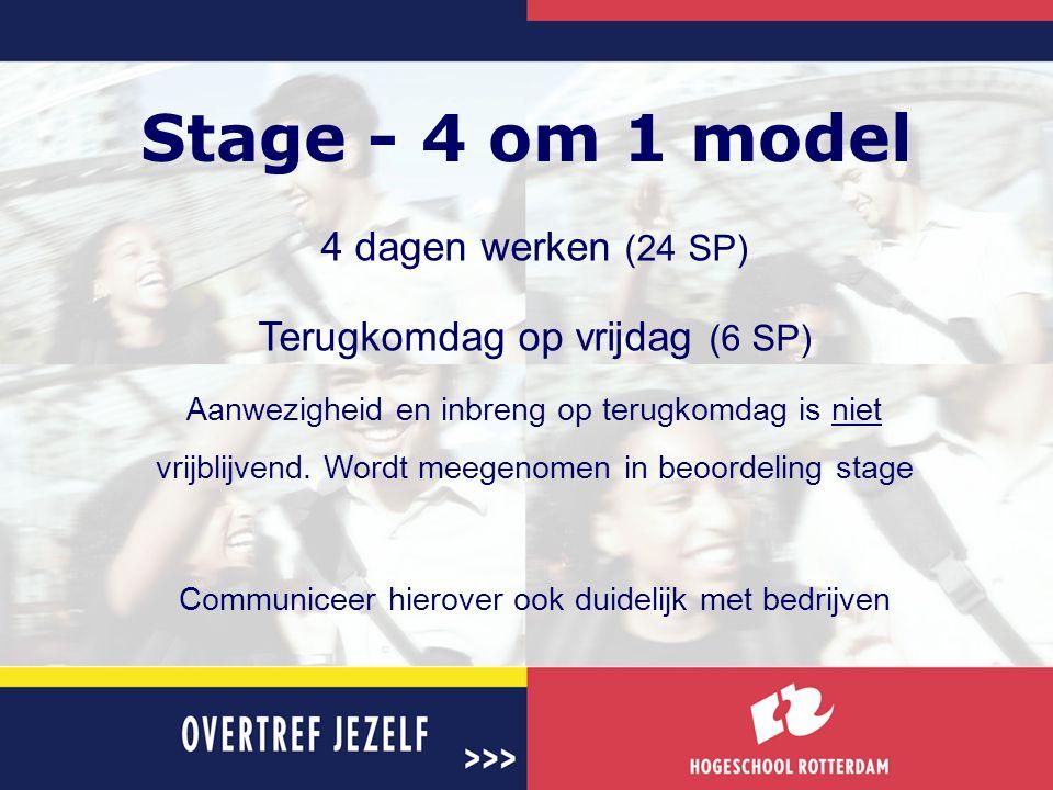 Stage - 4 om 1 model 4 dagen werken (24 SP) Terugkomdag op vrijdag (6 SP) Aanwezigheid en inbreng op terugkomdag is niet vrijblijvend. Wordt meegenome