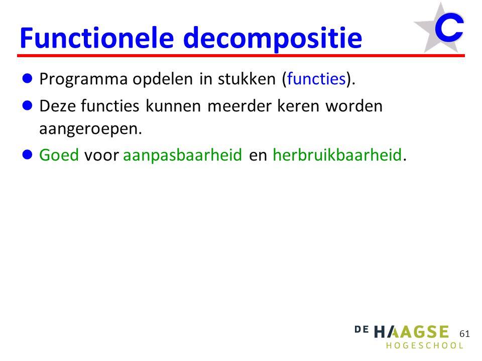 61 Functionele decompositie  Programma opdelen in stukken (functies).