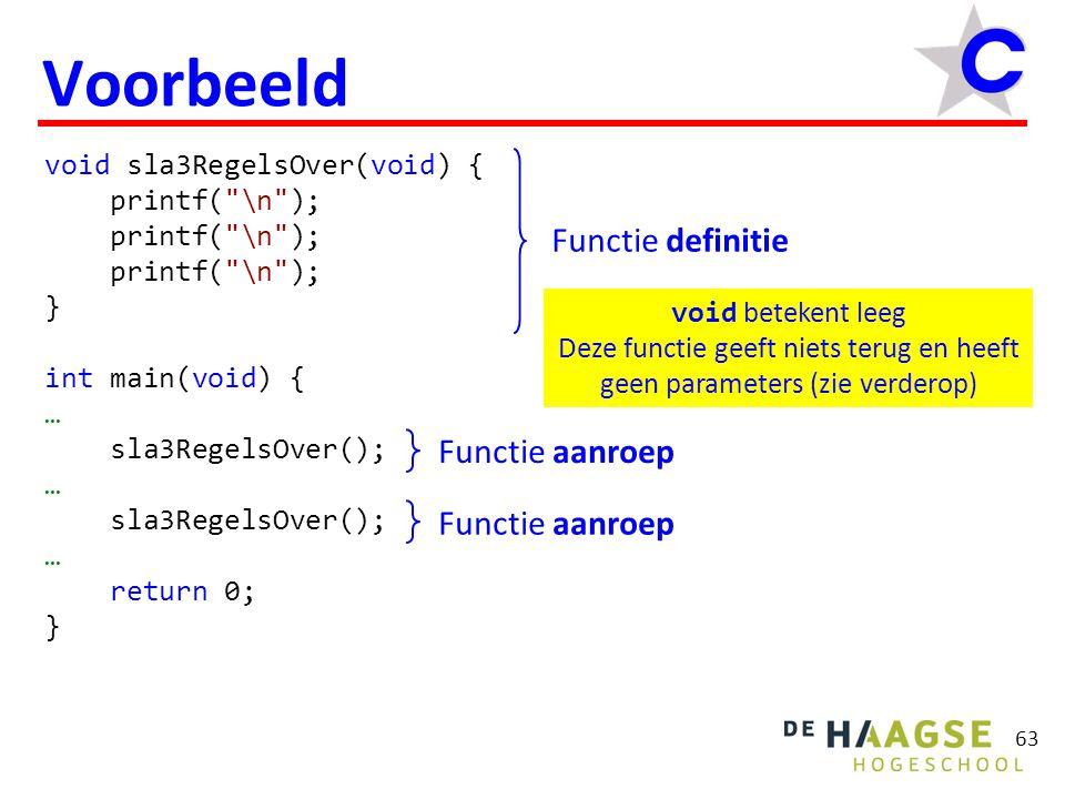 63 Voorbeeld void sla3RegelsOver(void) { printf( \n ); } int main(void) { … sla3RegelsOver(); … sla3RegelsOver(); … return 0; } void betekent leeg Deze functie geeft niets terug en heeft geen parameters (zie verderop) Functie definitie Functie aanroep