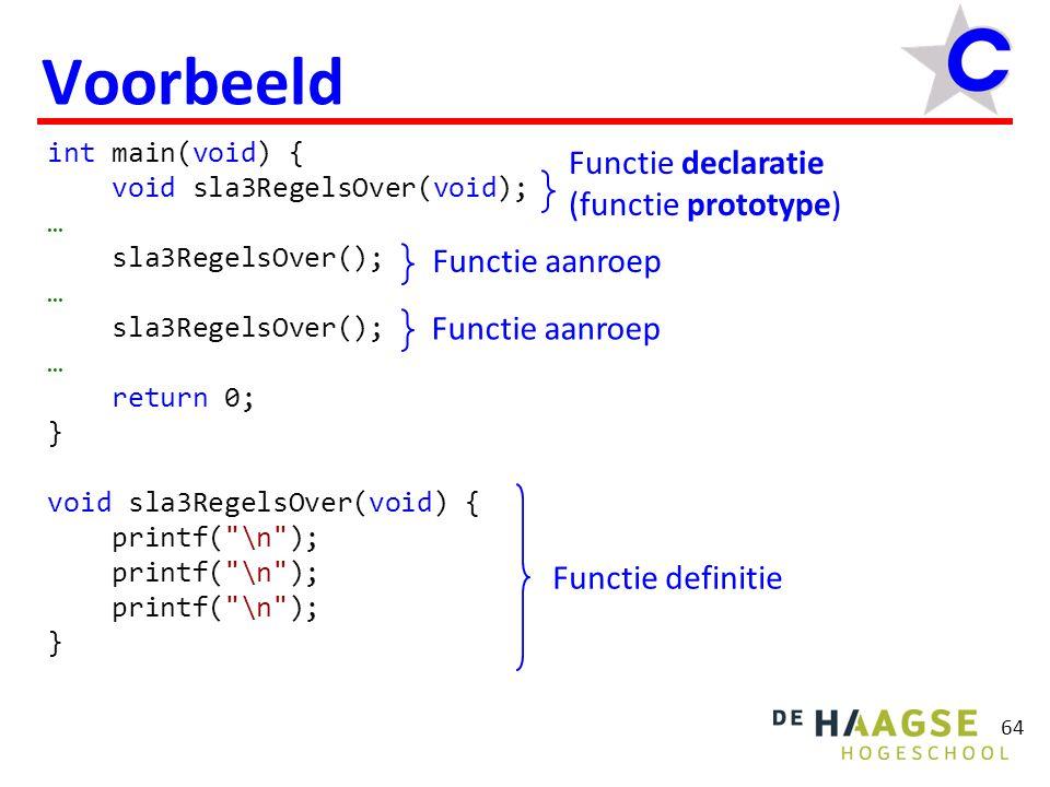 64 Voorbeeld int main(void) { void sla3RegelsOver(void); … sla3RegelsOver(); … sla3RegelsOver(); … return 0; } void sla3RegelsOver(void) { printf( \n ); } Functie definitie Functie aanroep Functie declaratie (functie prototype)
