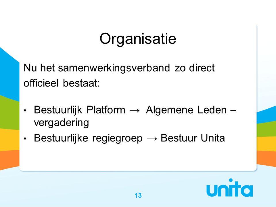Organisatie Nu het samenwerkingsverband zo direct officieel bestaat: • Bestuurlijk Platform → Algemene Leden – vergadering • Bestuurlijke regiegroep → Bestuur Unita 13
