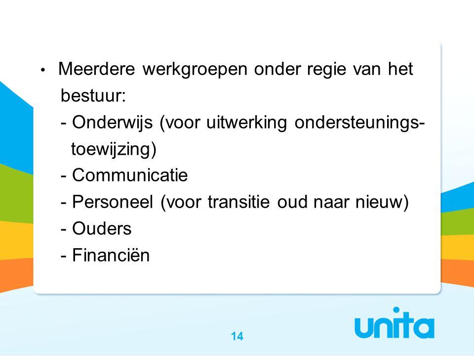 • Meerdere werkgroepen onder regie van het bestuur: - Onderwijs (voor uitwerking ondersteunings- toewijzing) - Communicatie - Personeel (voor transitie oud naar nieuw) - Ouders - Financiën 14