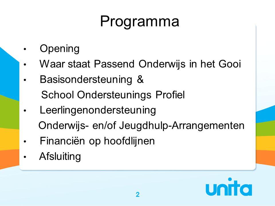 2 • Opening • Waar staat Passend Onderwijs in het Gooi • Basisondersteuning & School Ondersteunings Profiel • Leerlingenondersteuning Onderwijs- en/of