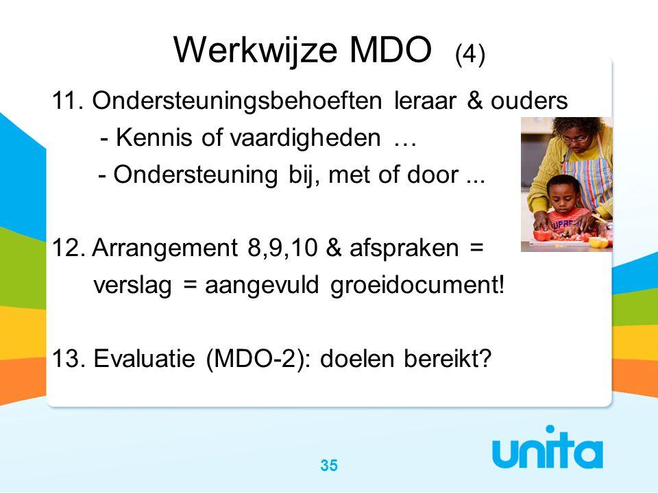 35 Werkwijze MDO (4) 11. Ondersteuningsbehoeften leraar & ouders - Kennis of vaardigheden … - Ondersteuning bij, met of door... 12. Arrangement 8,9,10