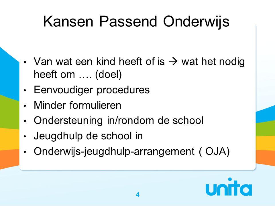 4 • Van wat een kind heeft of is  wat het nodig heeft om …. (doel) • Eenvoudiger procedures • Minder formulieren • Ondersteuning in/rondom de school