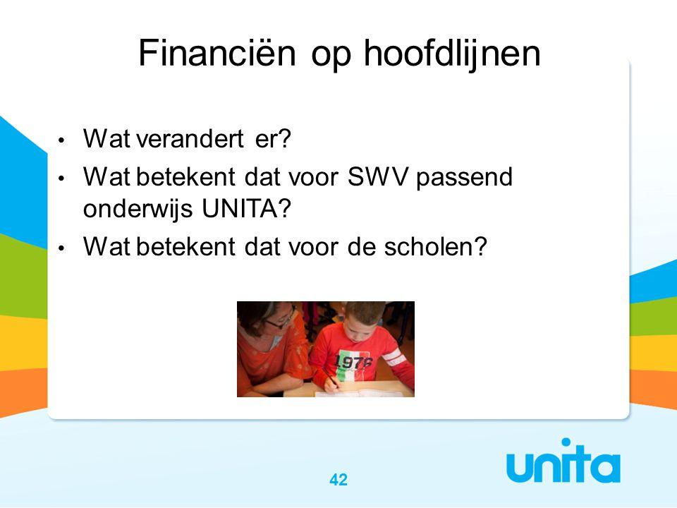 42 Financiën op hoofdlijnen • Wat verandert er? • Wat betekent dat voor SWV passend onderwijs UNITA? • Wat betekent dat voor de scholen?