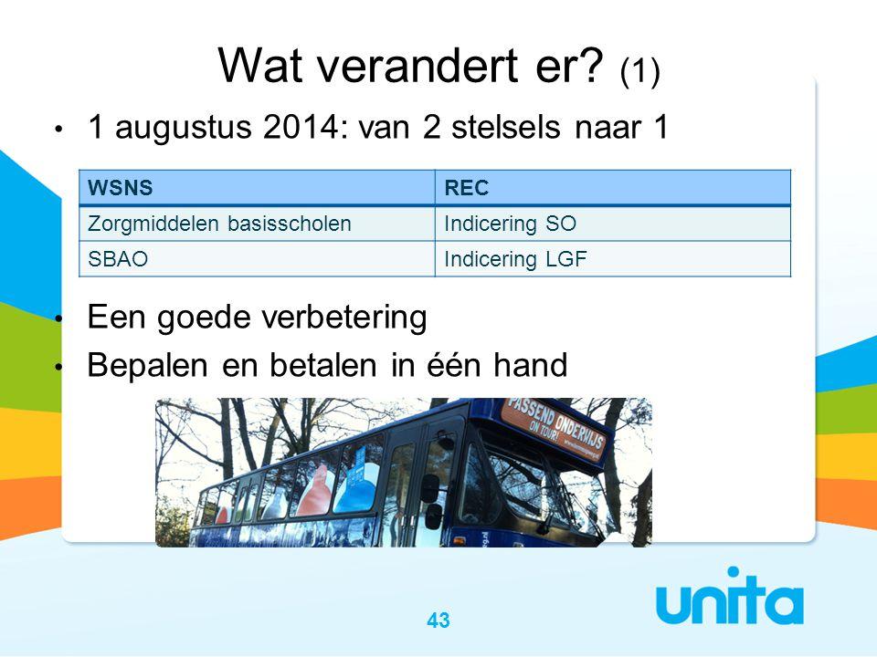 43 Wat verandert er? (1) • 1 augustus 2014: van 2 stelsels naar 1 • Een goede verbetering • Bepalen en betalen in één hand WSNSREC Zorgmiddelen basiss
