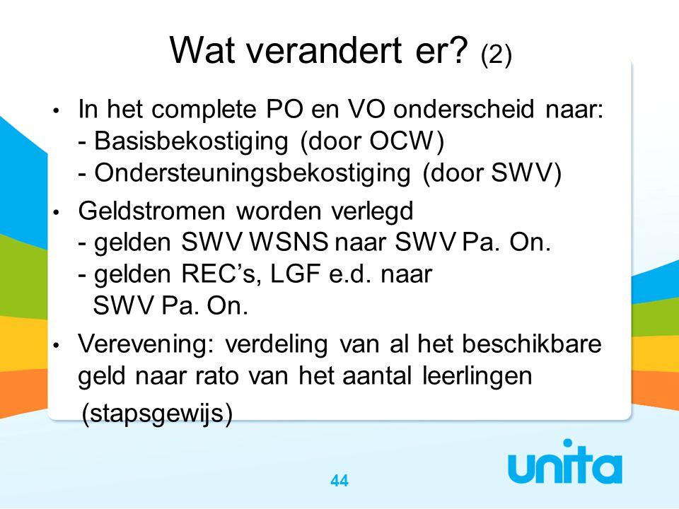 44 Wat verandert er? (2) • In het complete PO en VO onderscheid naar: - Basisbekostiging (door OCW) - Ondersteuningsbekostiging (door SWV) • Geldstrom