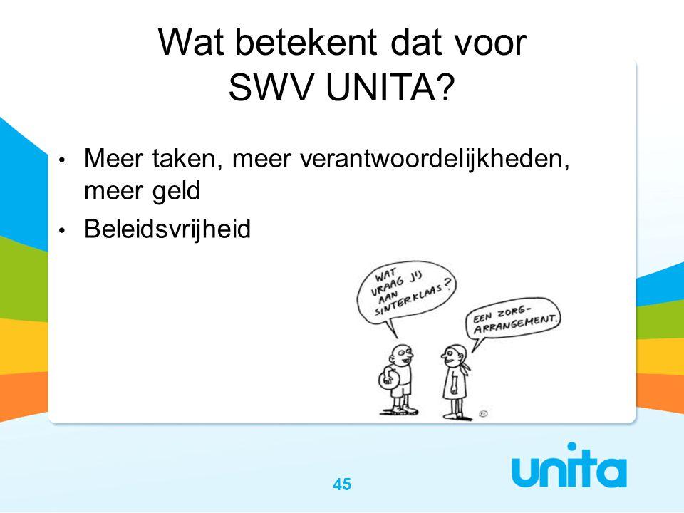 45 Wat betekent dat voor SWV UNITA? • Meer taken, meer verantwoordelijkheden, meer geld • Beleidsvrijheid
