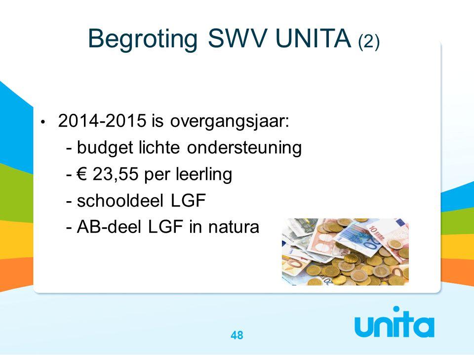 • 2014-2015 is overgangsjaar: - budget lichte ondersteuning - € 23,55 per leerling - schooldeel LGF - AB-deel LGF in natura 48 Begroting SWV UNITA (2)