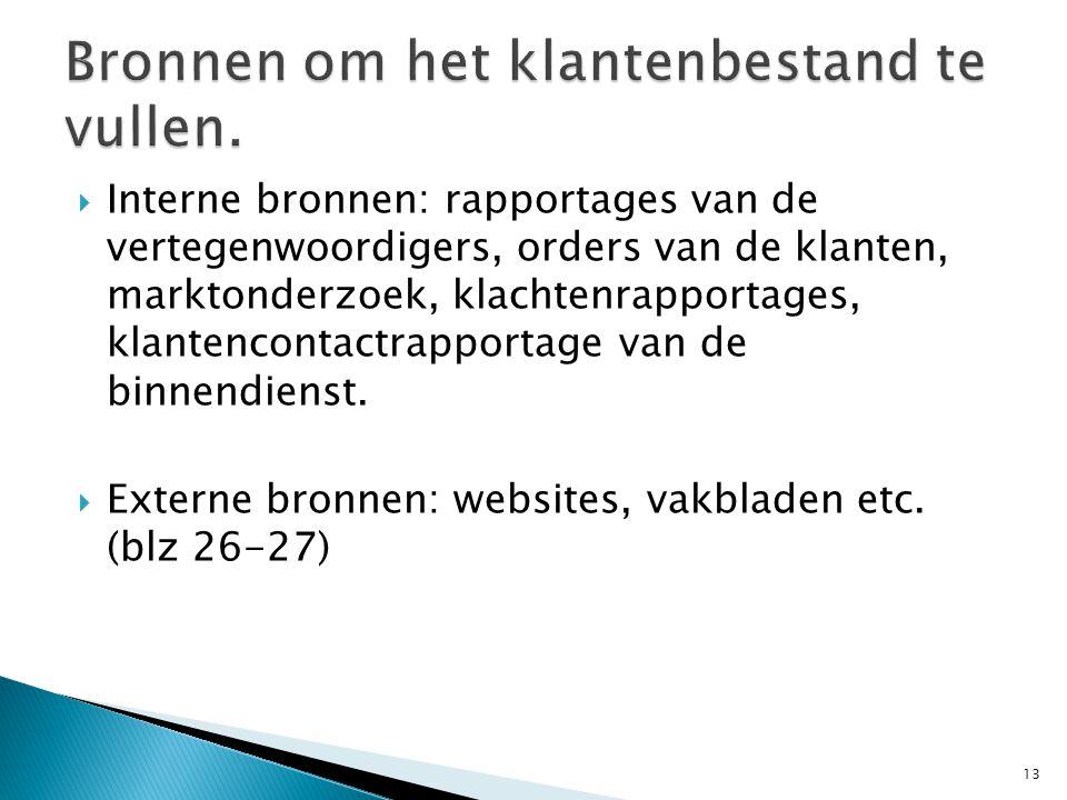  Interne bronnen: rapportages van de vertegenwoordigers, orders van de klanten, marktonderzoek, klachtenrapportages, klantencontactrapportage van de