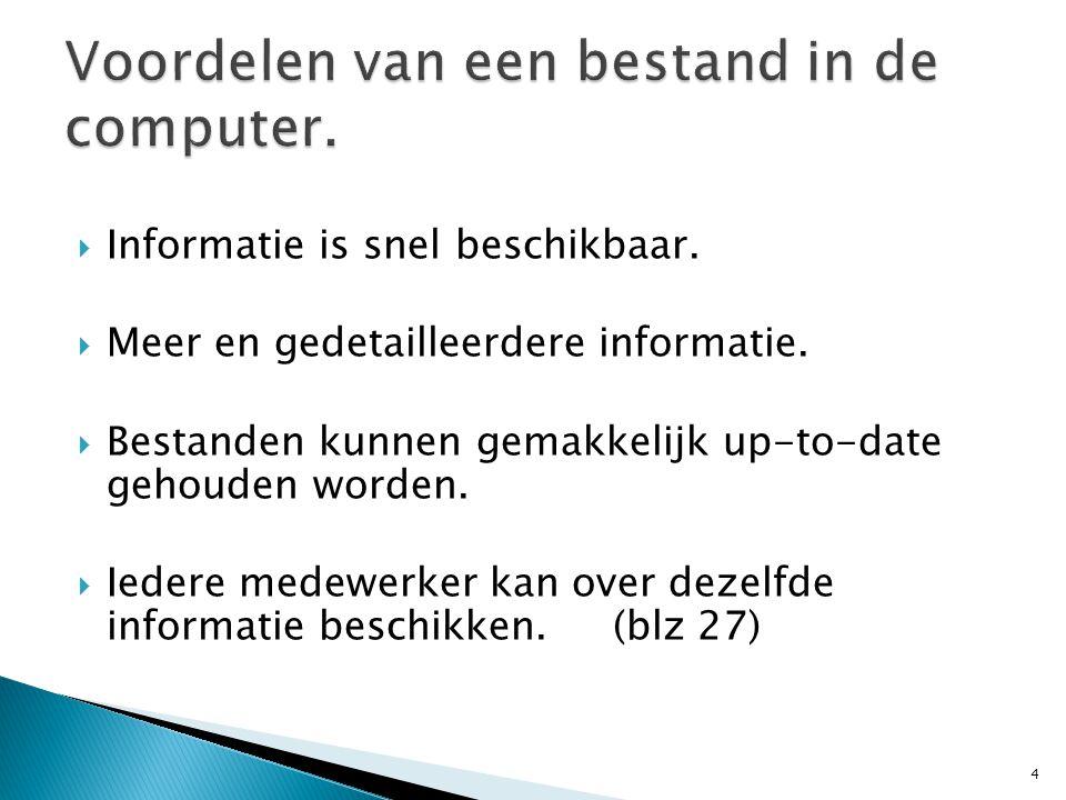  Informatie is snel beschikbaar.  Meer en gedetailleerdere informatie.  Bestanden kunnen gemakkelijk up-to-date gehouden worden.  Iedere medewerke