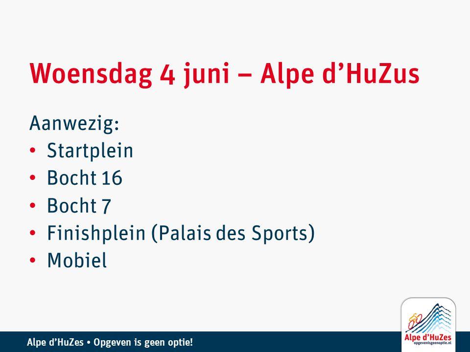 Woensdag 4 juni – Alpe d'HuZus Aanwezig: • Startplein • Bocht 16 • Bocht 7 • Finishplein (Palais des Sports) • Mobiel