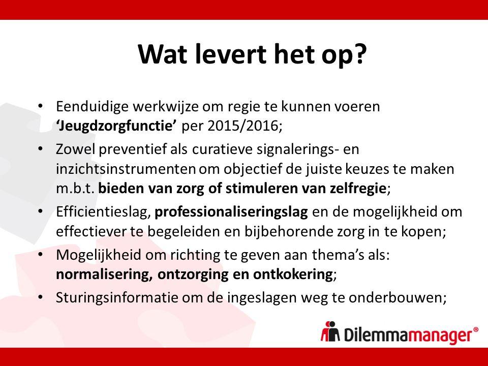 • Eenduidige werkwijze om regie te kunnen voeren 'Jeugdzorgfunctie' per 2015/2016; • Zowel preventief als curatieve signalerings- en inzichtsinstrumenten om objectief de juiste keuzes te maken m.b.t.