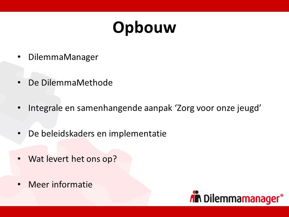 Opbouw • DilemmaManager • De DilemmaMethode • Integrale en samenhangende aanpak 'Zorg voor onze jeugd' • De beleidskaders en implementatie • Wat levert het ons op.