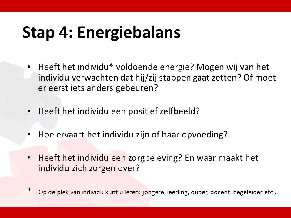 Stap 4: Energiebalans • Heeft het individu* voldoende energie.