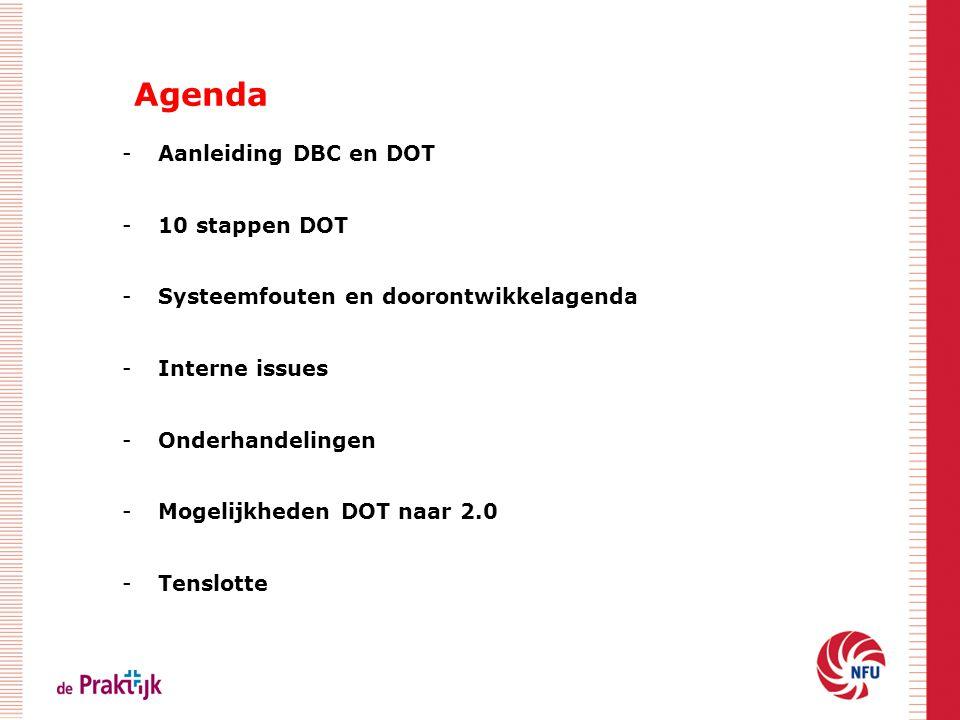 Agenda -Aanleiding DBC en DOT -10 stappen DOT -Systeemfouten en doorontwikkelagenda -Interne issues -Onderhandelingen -Mogelijkheden DOT naar 2.0 -Ten