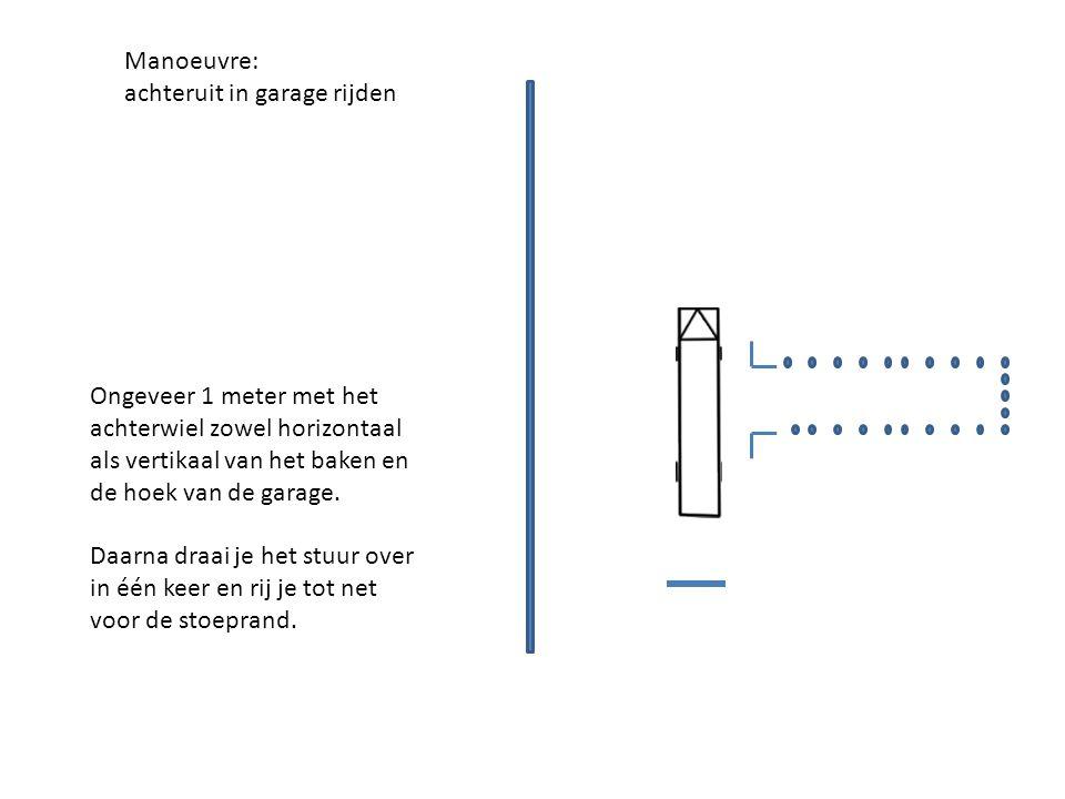Manoeuvre: achteruit in garage rijden Ongeveer 1 meter met het achterwiel zowel horizontaal als vertikaal van het baken en de hoek van de garage.