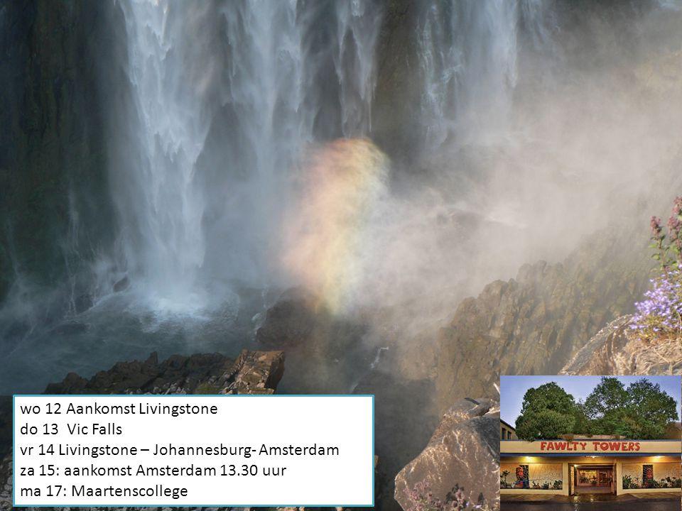 Zaterdag 08: vertrek naar Zambia Zondag 9 + maandag 10: Safari (morning walk, night drive, morningdrive) Dinsdag 11: Vertrek naar Livingstone