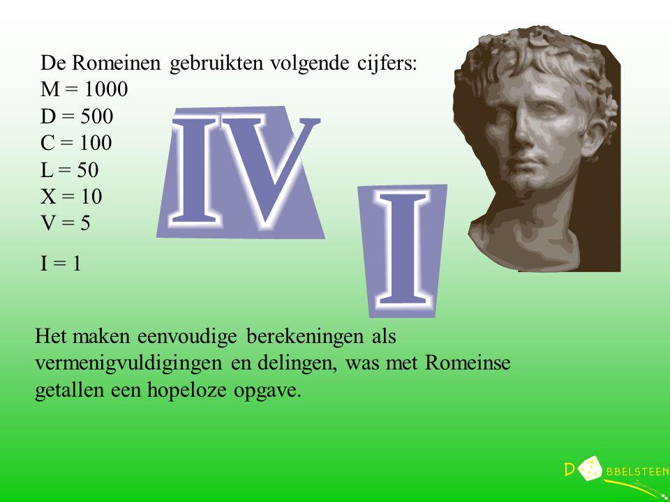 De Romeinen gebruikten volgende cijfers: M = 1000 D = 500 C = 100 L = 50 X = 10 V = 5 I = 1 Het maken eenvoudige berekeningen als vermenigvuldigingen en delingen, was met Romeinse getallen een hopeloze opgave.