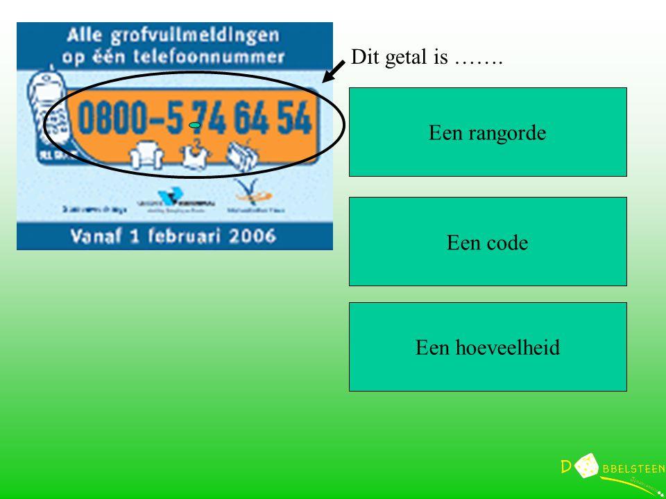 Een rangorde Een code Een hoeveelheid Dit getal is …….