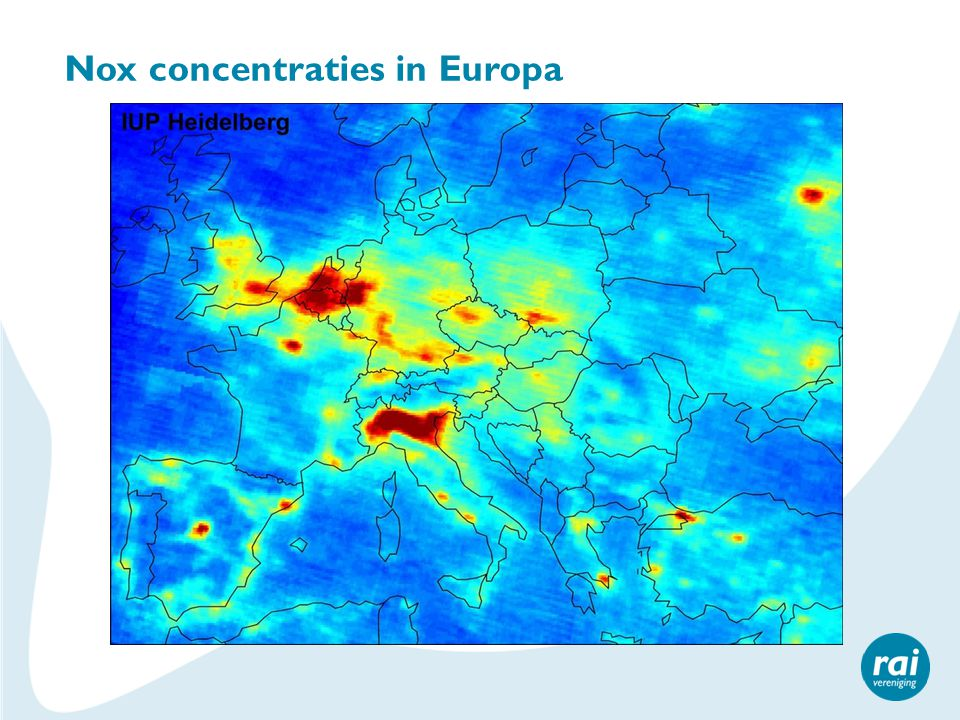 Nox concentraties in Europa