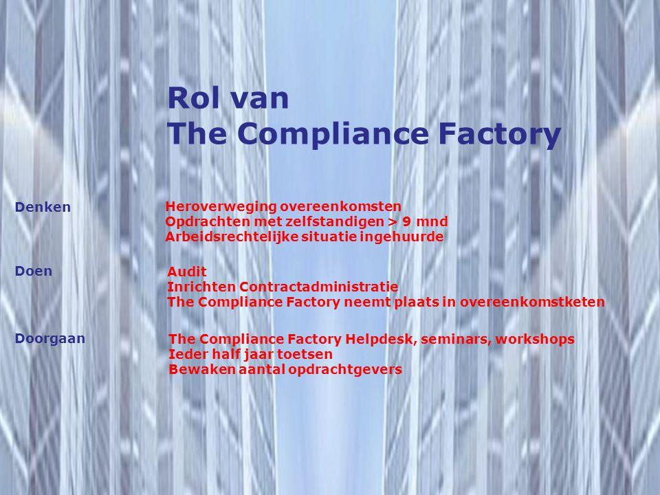 Rol van The Compliance Factory Heroverweging overeenkomsten Opdrachten met zelfstandigen > 9 mnd Arbeidsrechtelijke situatie ingehuurde Denken Doen Do