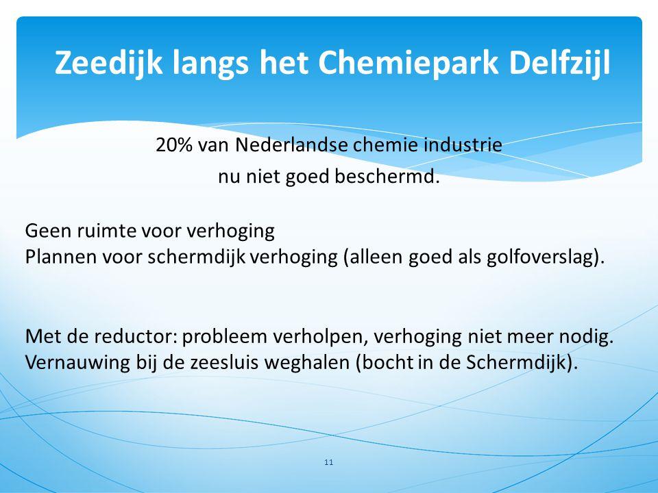 20% van Nederlandse chemie industrie nu niet goed beschermd. Zeedijk langs het Chemiepark Delfzijl 11 Geen ruimte voor verhoging Plannen voor schermdi