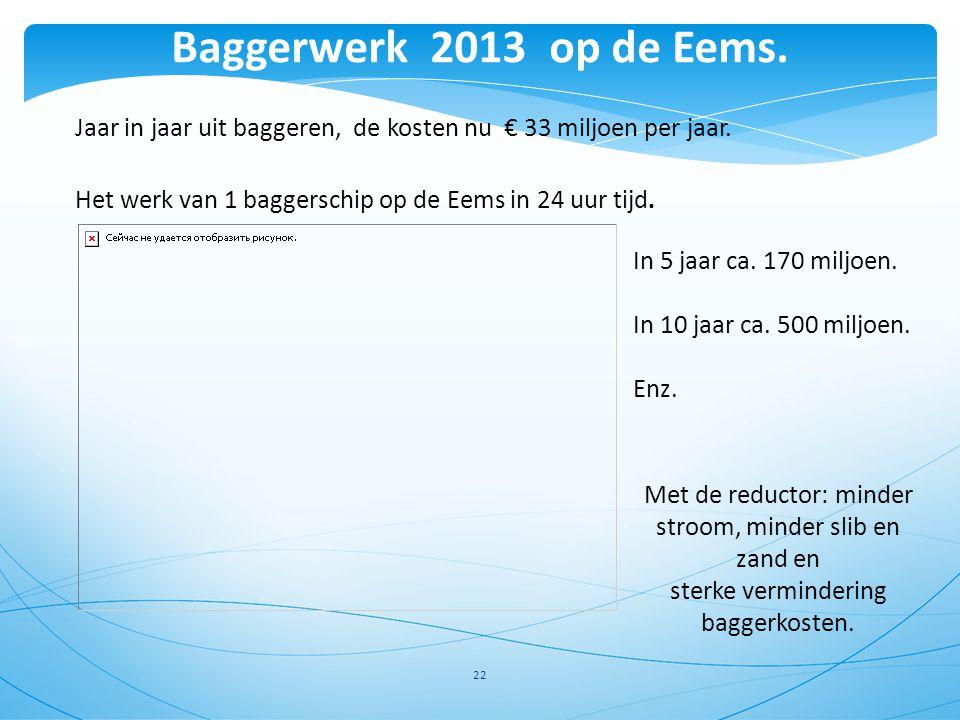 22 Jaar in jaar uit baggeren, de kosten nu € 33 miljoen per jaar. Het werk van 1 baggerschip op de Eems in 24 uur tijd. Met de reductor: minder stroom