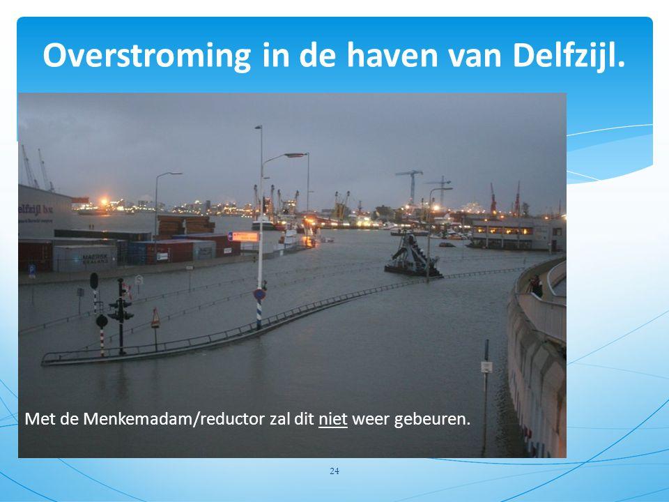 Overstroming in de haven van Delfzijl. 24 Met de Menkemadam/reductor zal dit niet weer gebeuren.