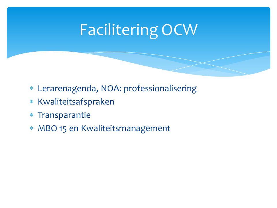  Lerarenagenda, NOA: professionalisering  Kwaliteitsafspraken  Transparantie  MBO 15 en Kwaliteitsmanagement Facilitering OCW